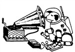 SFOHA's logo of a space-suited dog listening to a grammaphone